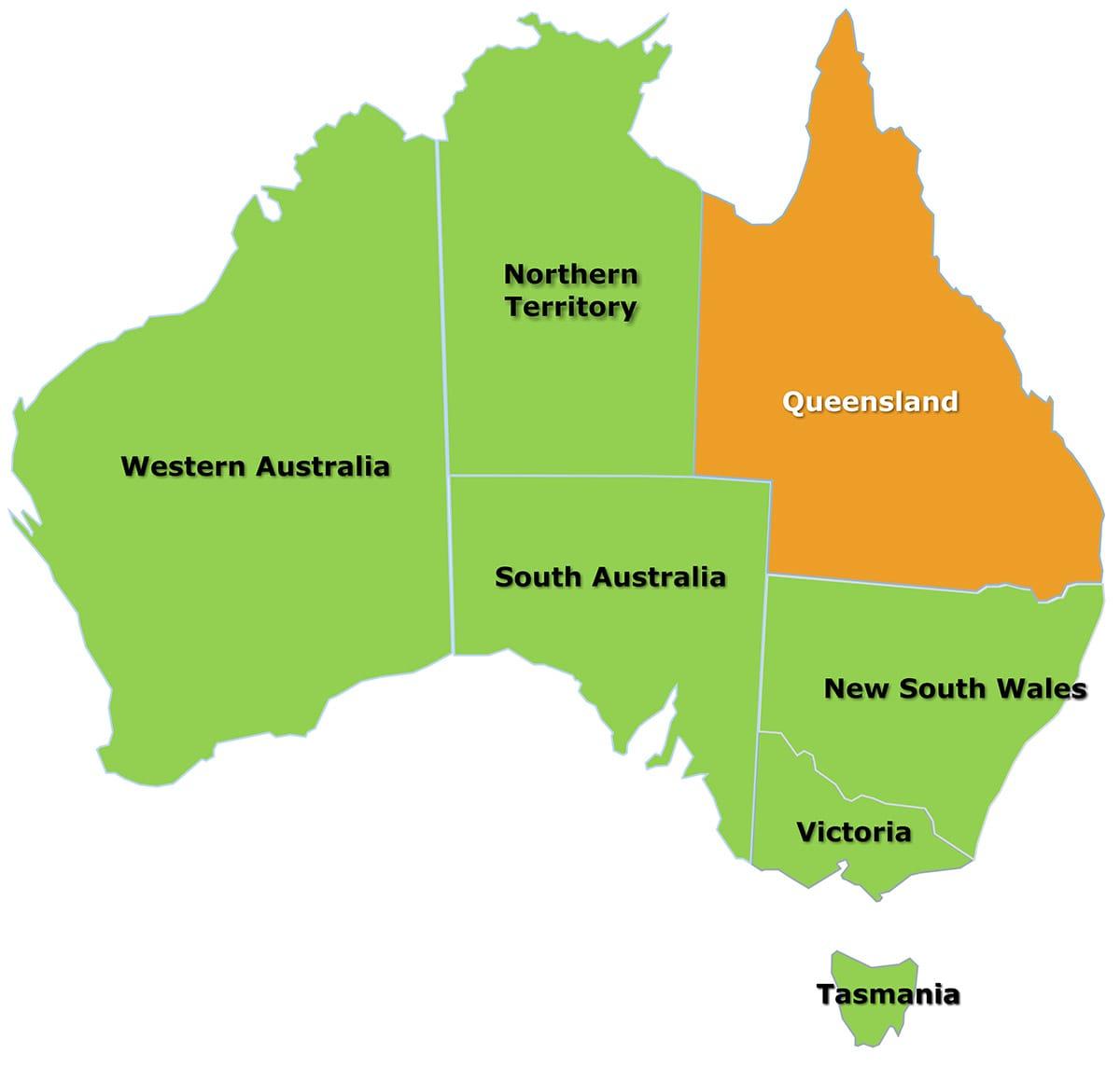 Map Queensland Australia.Queensland Map Citrus Australia